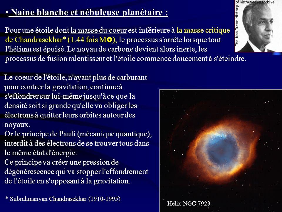 Naine blanche et nébuleuse planétaire : Le coeur de l'étoile, n'ayant plus de carburant pour contrer la gravitation, continue à s'effondrer sur lui-mê