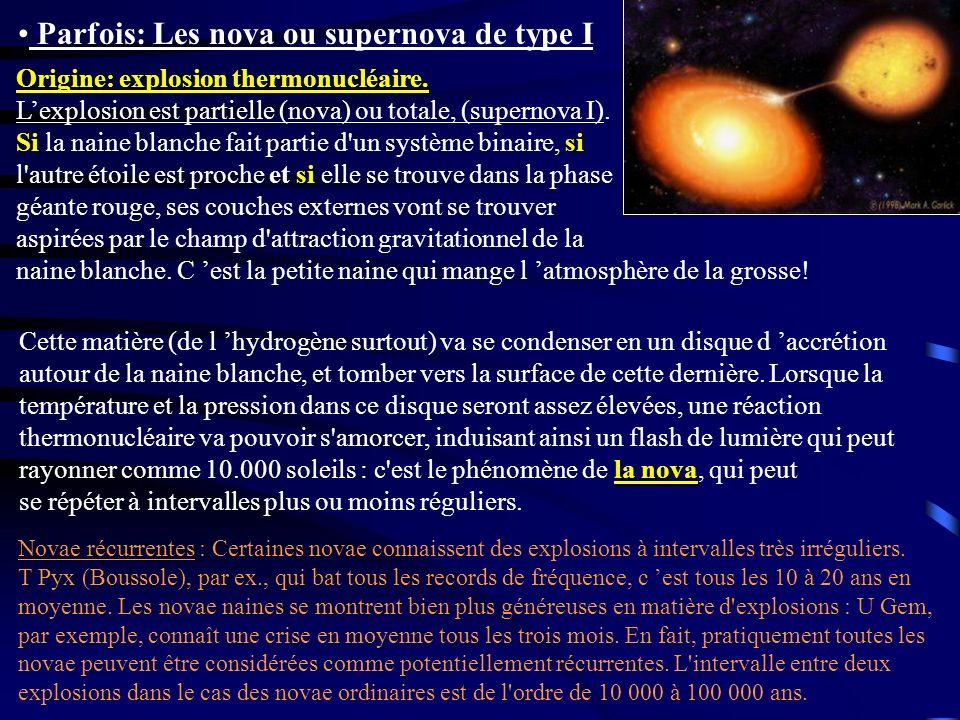 Parfois: Les nova ou supernova de type I la nova Cette matière (de l hydrogène surtout) va se condenser en un disque d accrétion autour de la naine bl