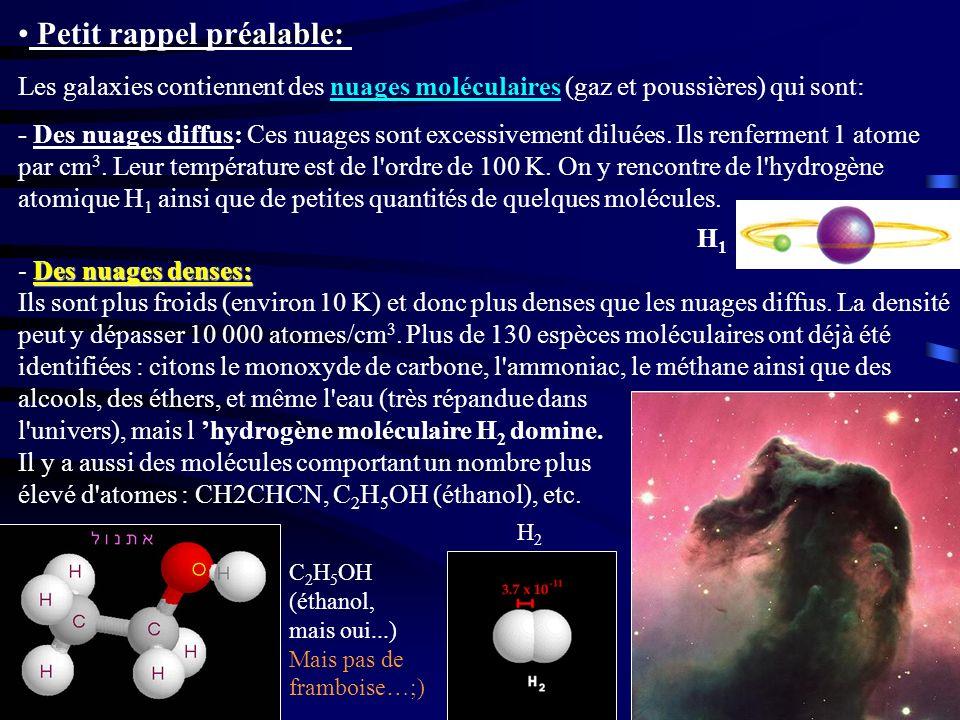 Petit rappel préalable: Les galaxies contiennent des nuages moléculaires (gaz et poussières) qui sont: - Des nuages diffus: Ces nuages sont excessivem