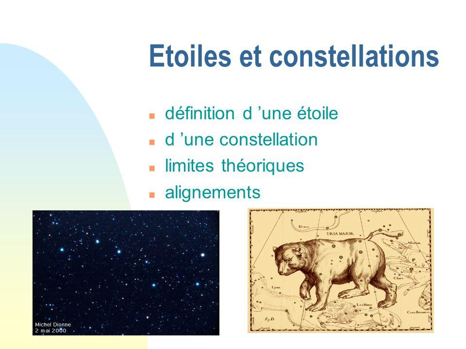 Etoiles et constellations définition d une étoile d une constellation limites théoriques alignements