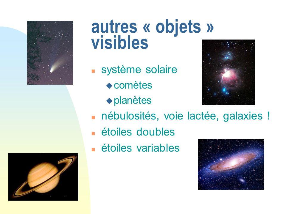 autres « objets » visibles système solaire comètes planètes nébulosités, voie lactée, galaxies ! étoiles doubles étoiles variables