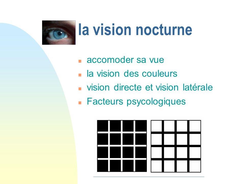 la vision nocturne accomoder sa vue la vision des couleurs vision directe et vision latérale Facteurs psycologiques