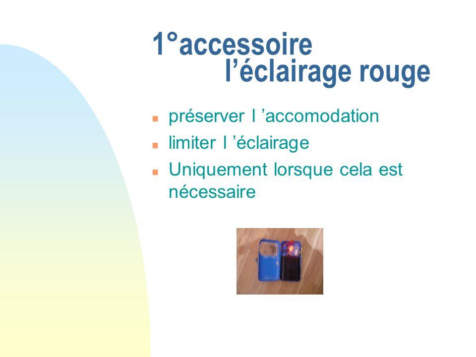 1°accessoire léclairage rouge préserver l accomodation limiter l éclairage Uniquement lorsque cela est nécessaire