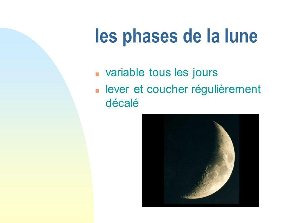 les phases de la lune variable tous les jours lever et coucher régulièrement décalé