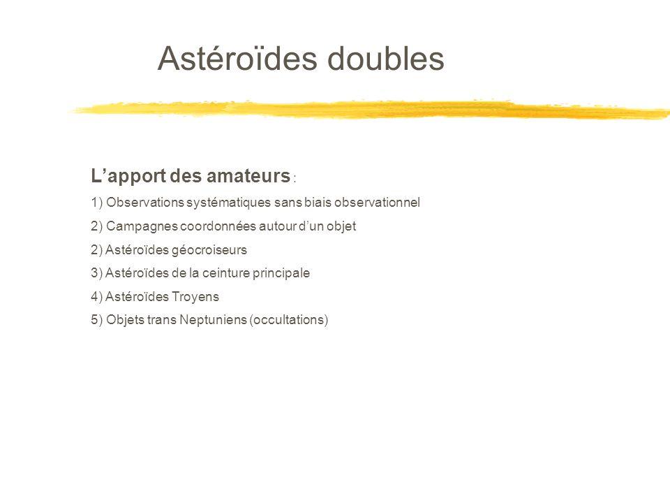 Astéroïdes doubles Lapport des amateurs : 1) Observations systématiques sans biais observationnel 2) Campagnes coordonnées autour dun objet 2) Astéroïdes géocroiseurs 3) Astéroïdes de la ceinture principale 4) Astéroïdes Troyens 5) Objets trans Neptuniens (occultations)