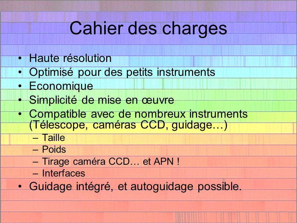 Description technique Architecture de type Littrow –optimisé pour D=200mm, F/D=10 R = 17000 max –0.116 A/pixel –Champ de 80 A (KAF04XX, Audine, ST7…) –Magnitude ~4 (200mm, 1h de pose) –Tout le spectre visible est couvert Châssis en tôles pliées – 1.7 Kg Bagues dadaptation à de multiples instruments Fente étroite réfléchissante (accessible) Plusieurs réseaux possibles (2400 t nominal) Lampe de calibration néon intégrée