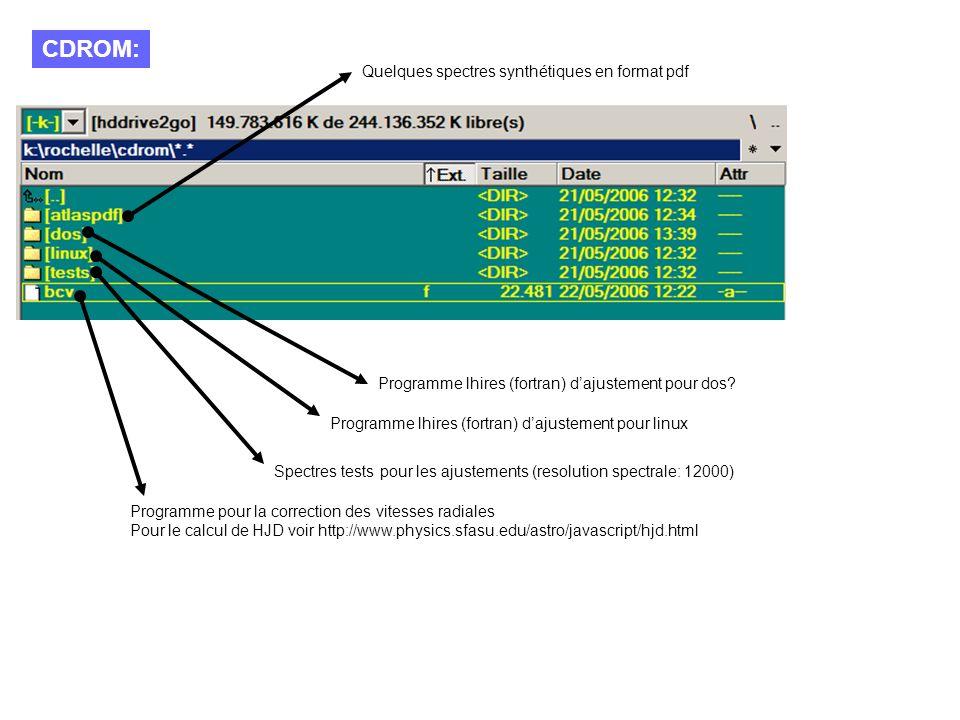 CDROM: Quelques spectres synthétiques en format pdf Programme lhires (fortran) dajustement pour linux Programme lhires (fortran) dajustement pour dos.
