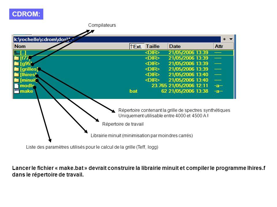 CDROM: Compilateurs Répertoire contenant la grille de spectres synthétiques Uniquement utilisable entre 4000 et 4500 A .