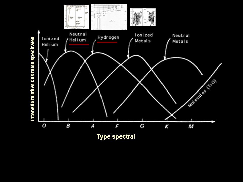 Intensité relative des raies spectrales Type spectral