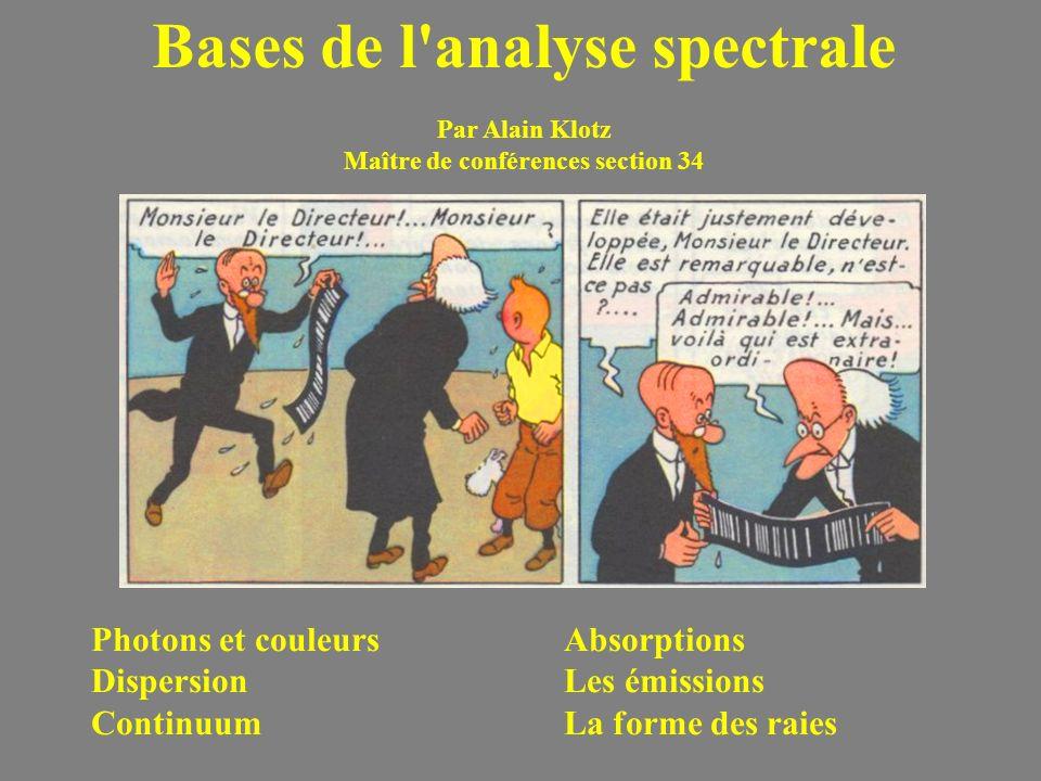 Bases de l'analyse spectrale Par Alain Klotz Maître de conférences section 34 Photons et couleurs Dispersion Continuum Absorptions Les émissions La fo