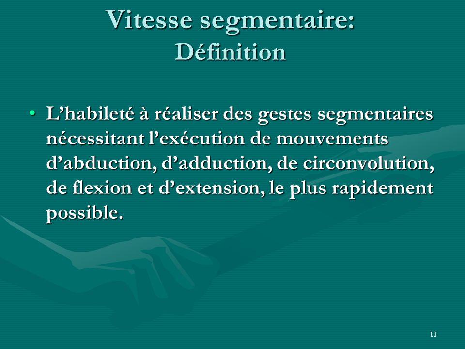 11 Vitesse segmentaire: Définition Lhabileté à réaliser des gestes segmentaires nécessitant lexécution de mouvements dabduction, dadduction, de circon