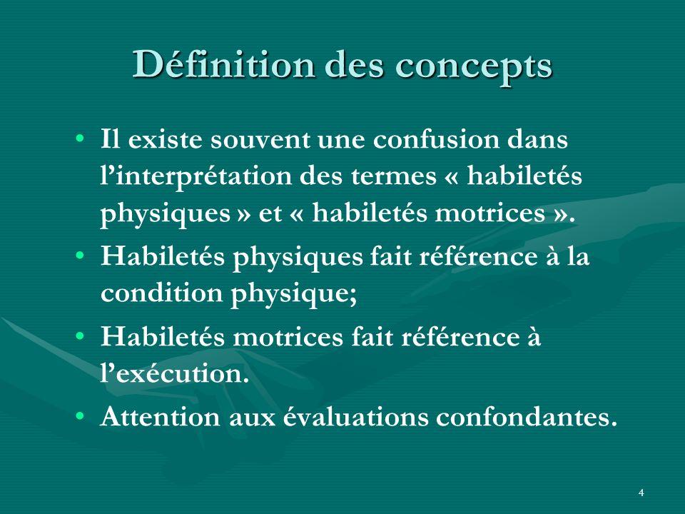4 Définition des concepts Il existe souvent une confusion dans linterprétation des termes « habiletés physiques » et « habiletés motrices ». Habiletés