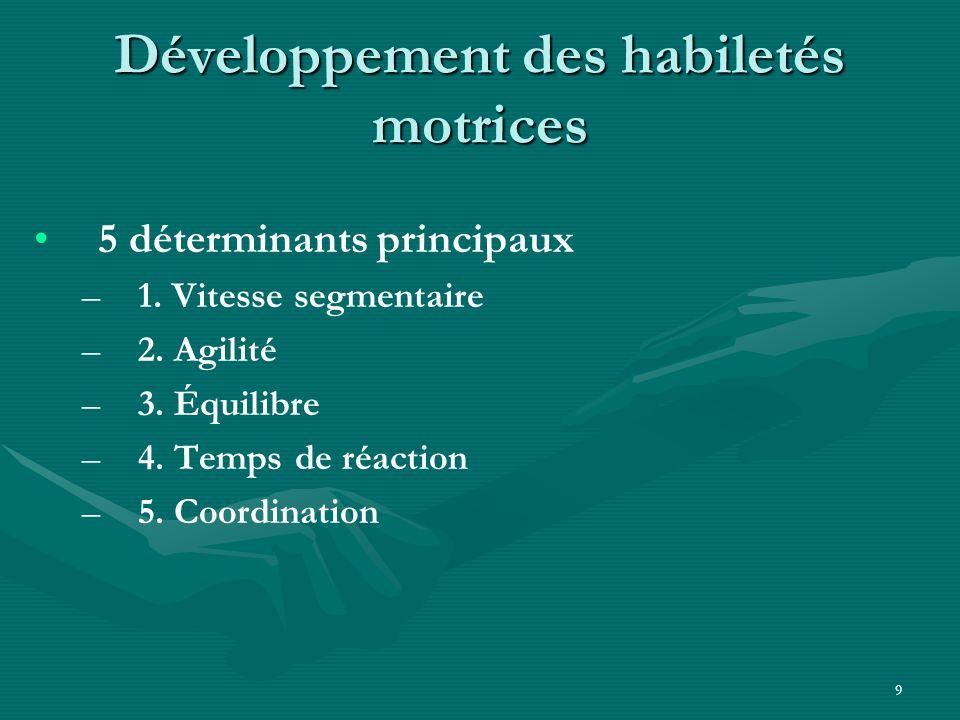 9 Développement des habiletés motrices 5 déterminants principaux – –1. Vitesse segmentaire – –2. Agilité – –3. Équilibre – –4. Temps de réaction – –5.