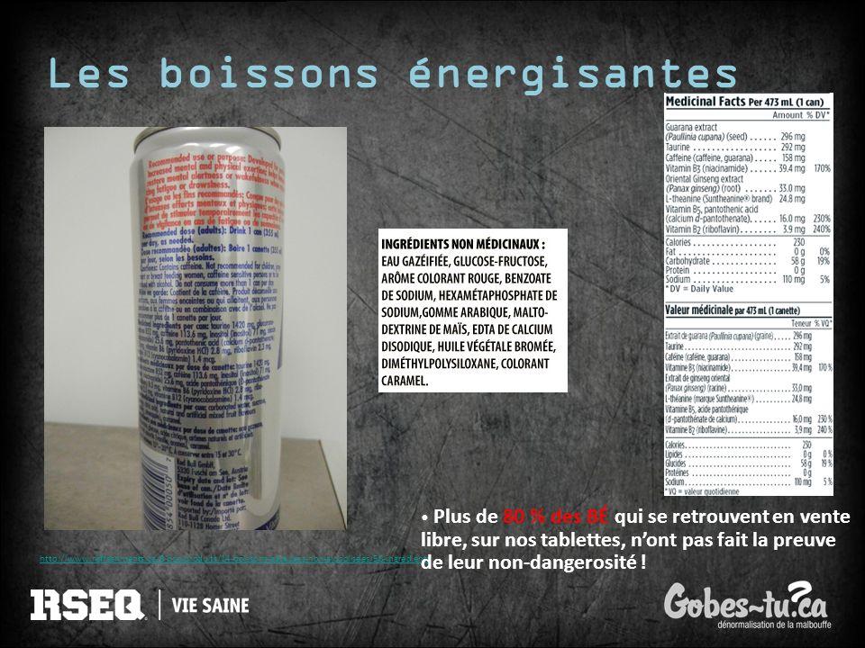 Les boissons énergisantes http://www.refreshments.ca/8-nos-produits/14-boissons-gazeuses-non-alcoolisees/58-ingredients Plus de 80 % des BÉ qui se ret
