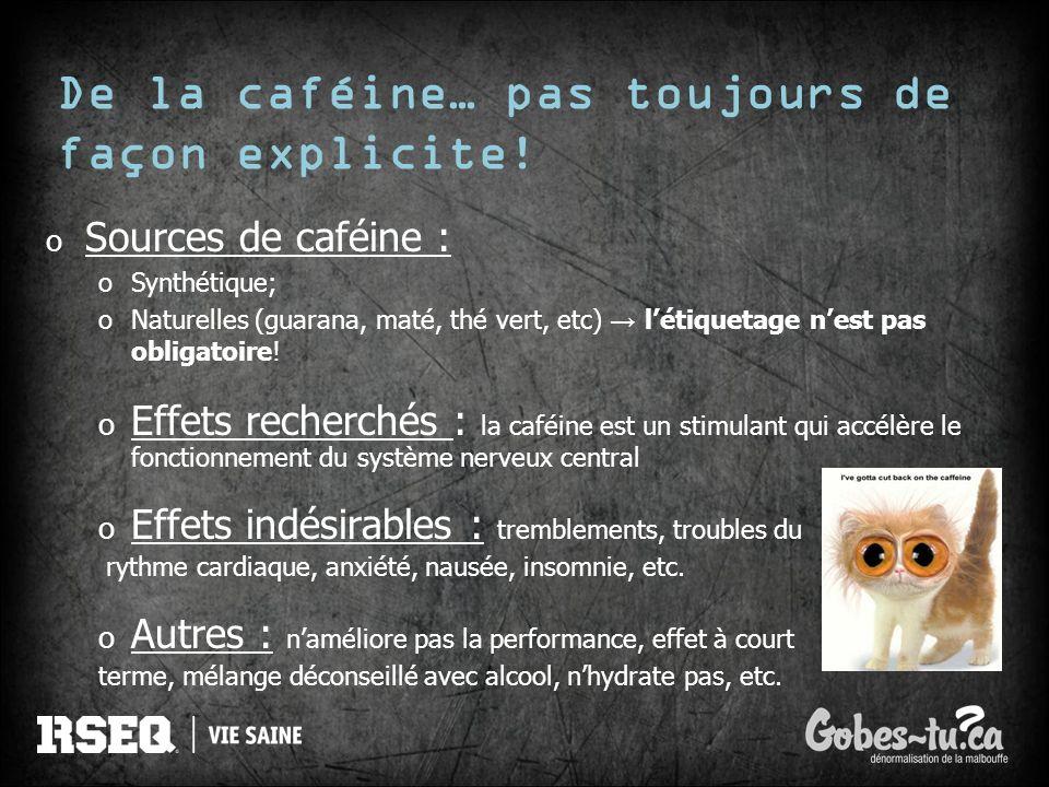De la caféine… pas toujours de façon explicite! o Sources de caféine : oSynthétique; oNaturelles (guarana, maté, thé vert, etc) létiquetage nest pas o