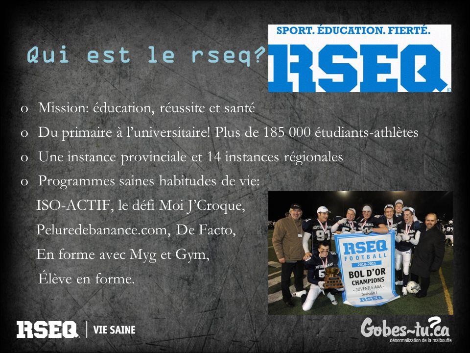 Qui est le rseq? oMission: éducation, réussite et santé oDu primaire à luniversitaire! Plus de 185 000 étudiants-athlètes oUne instance provinciale et