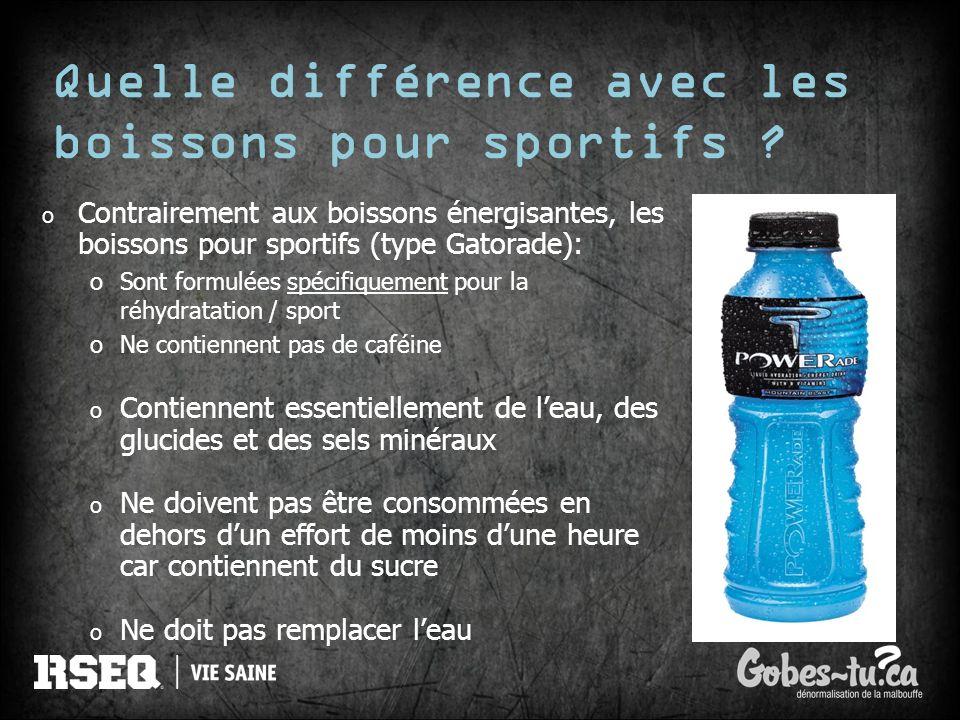 Quelle différence avec les boissons pour sportifs ? o Contrairement aux boissons énergisantes, les boissons pour sportifs (type Gatorade): oSont formu