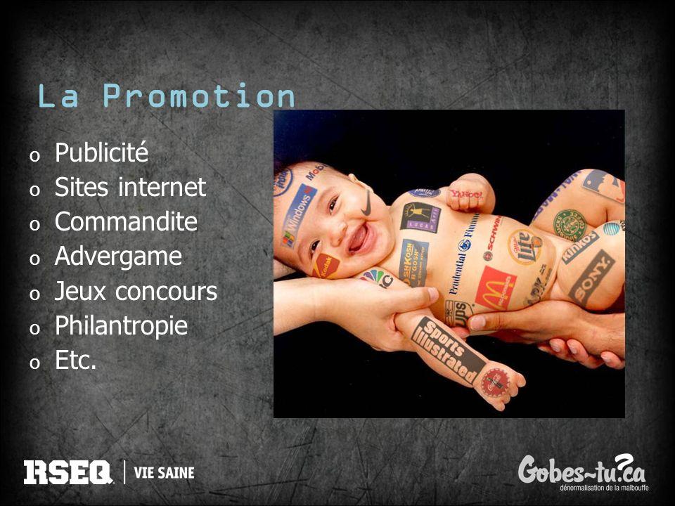 La Promotion o Publicité o Sites internet o Commandite o Advergame o Jeux concours o Philantropie o Etc.