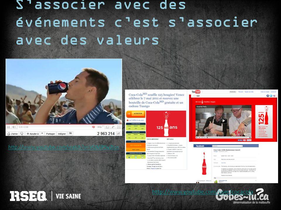 Sassocier avec des événements cest sassocier avec des valeurs http://www.youtube.com/watch?v=VQMlPSyZtos http://www.youtube.com/user/cocacola