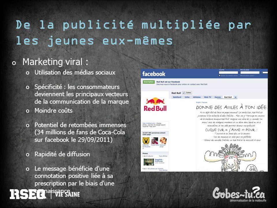 De la publicité multipliée par les jeunes eux-mêmes o Marketing viral : oUtilisation des médias sociaux oSpécificité : les consommateurs deviennent le