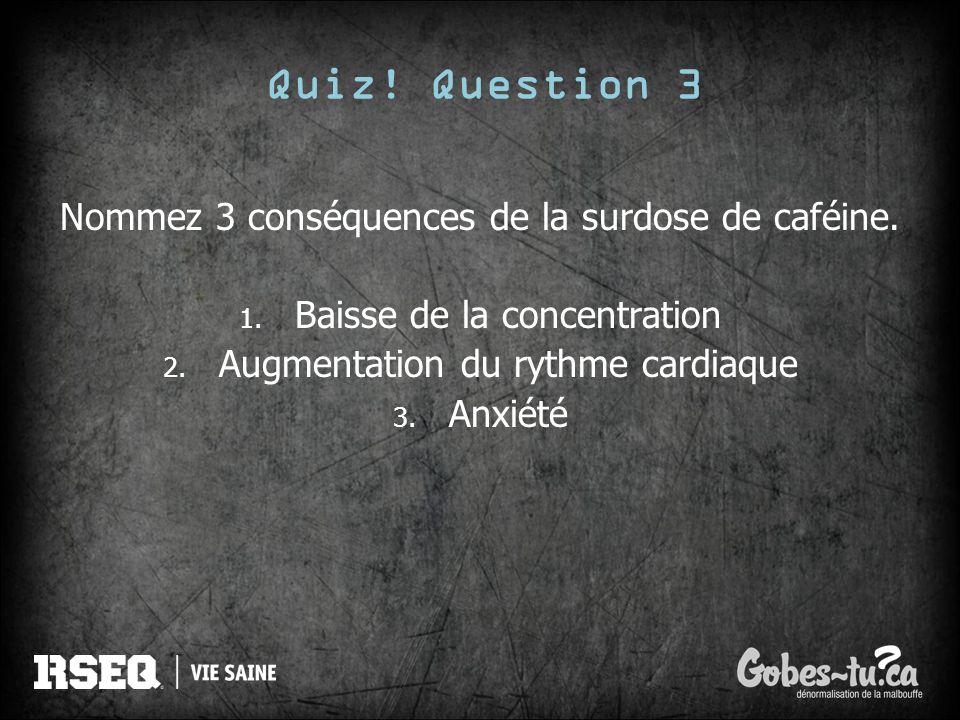 Quiz! Question 3 Nommez 3 conséquences de la surdose de caféine. 1. Baisse de la concentration 2. Augmentation du rythme cardiaque 3. Anxiété