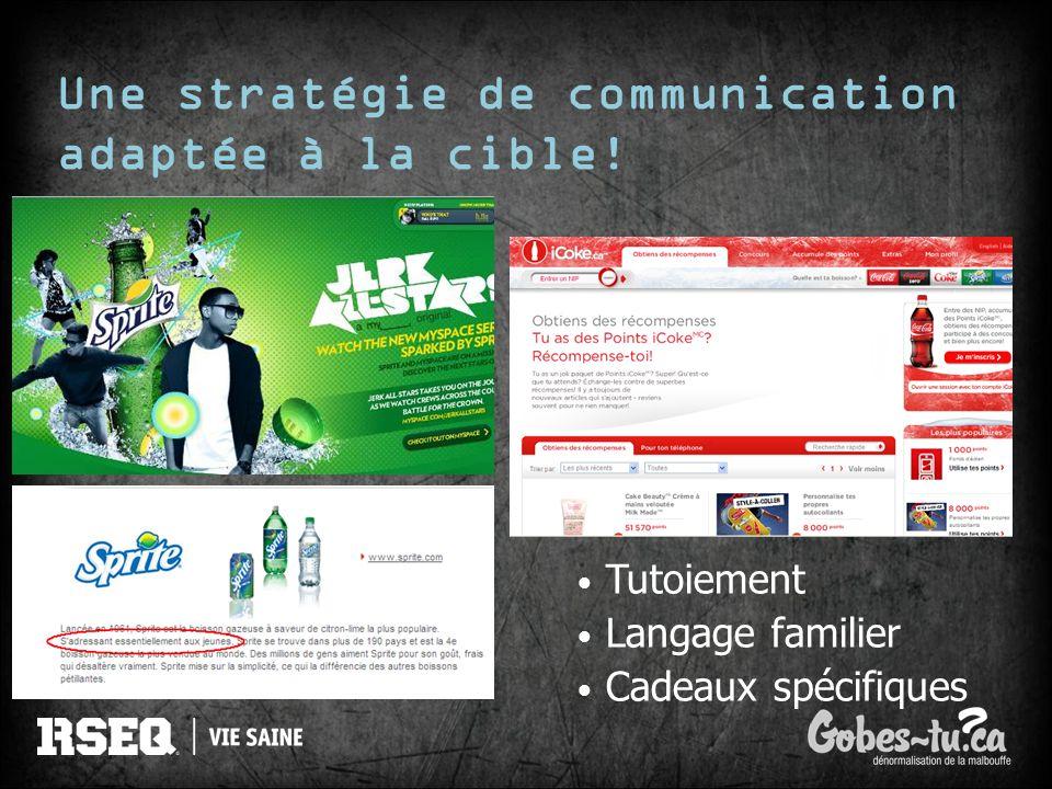 Une stratégie de communication adaptée à la cible! Tutoiement Langage familier Cadeaux spécifiques