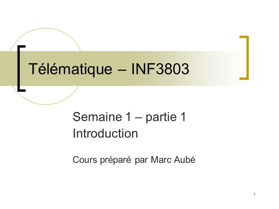 1 Télématique – INF3803 Semaine 1 – partie 1 Introduction Cours préparé par Marc Aubé