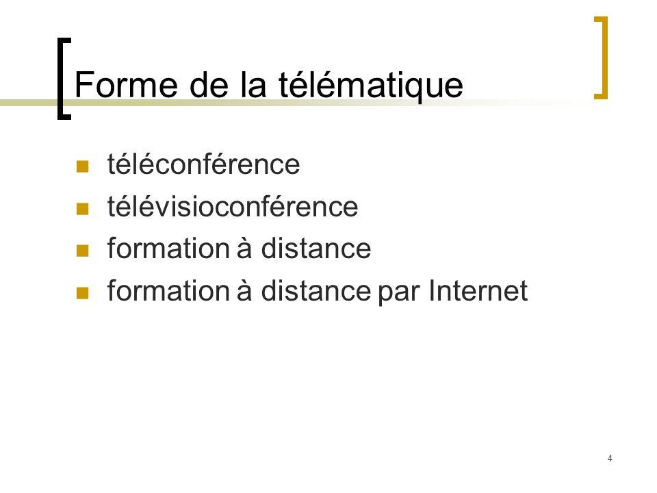 4 Forme de la télématique téléconférence télévisioconférence formation à distance formation à distance par Internet