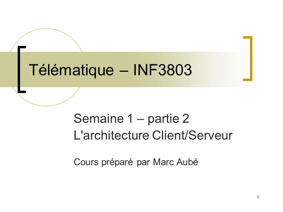 5 Télématique – INF3803 Semaine 1 – partie 2 L'architecture Client/Serveur Cours préparé par Marc Aubé