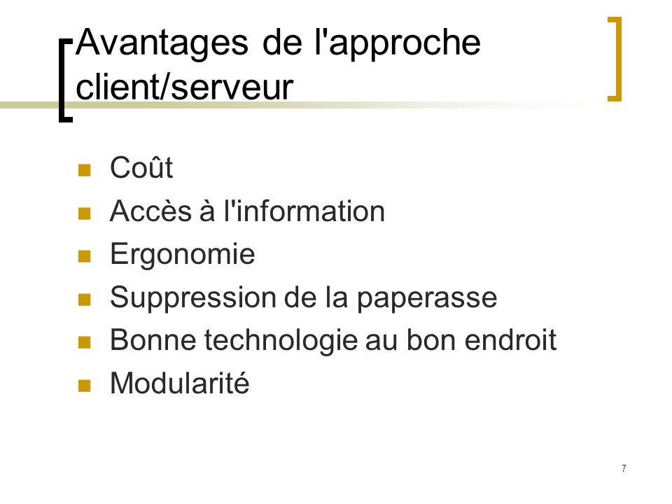 7 Avantages de l'approche client/serveur Coût Accès à l'information Ergonomie Suppression de la paperasse Bonne technologie au bon endroit Modularité