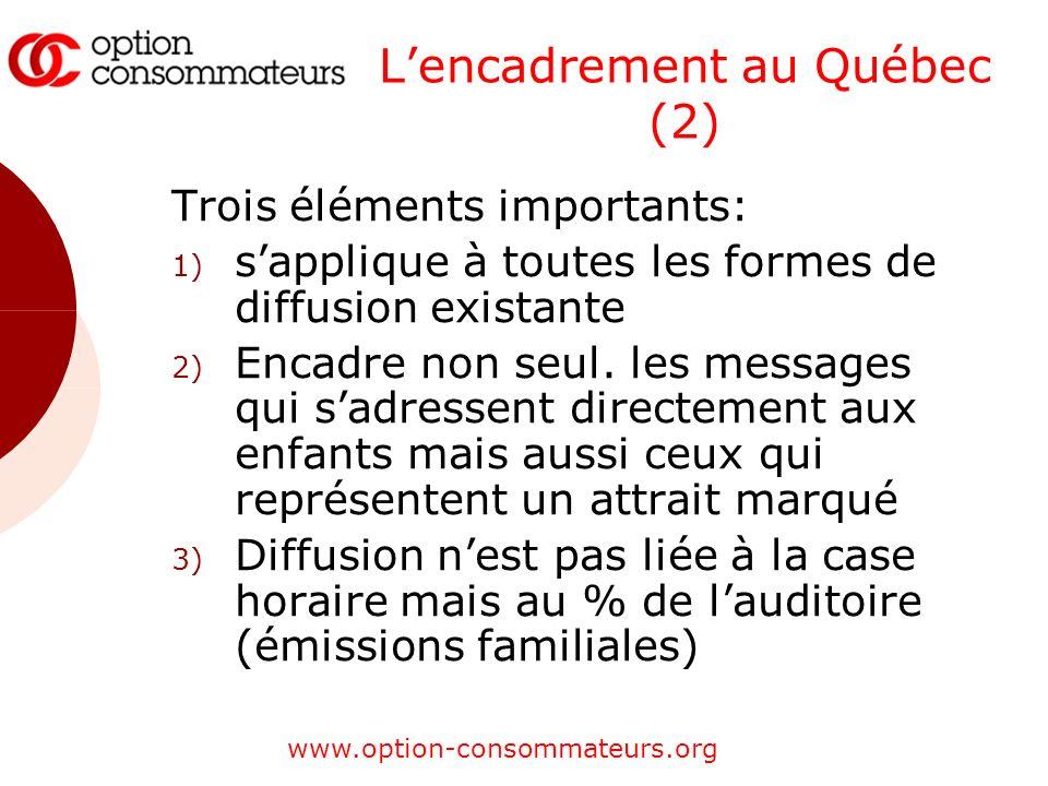 www.option-consommateurs.org Lencadrement au Québec (2) Trois éléments importants: 1) sapplique à toutes les formes de diffusion existante 2) Encadre non seul.