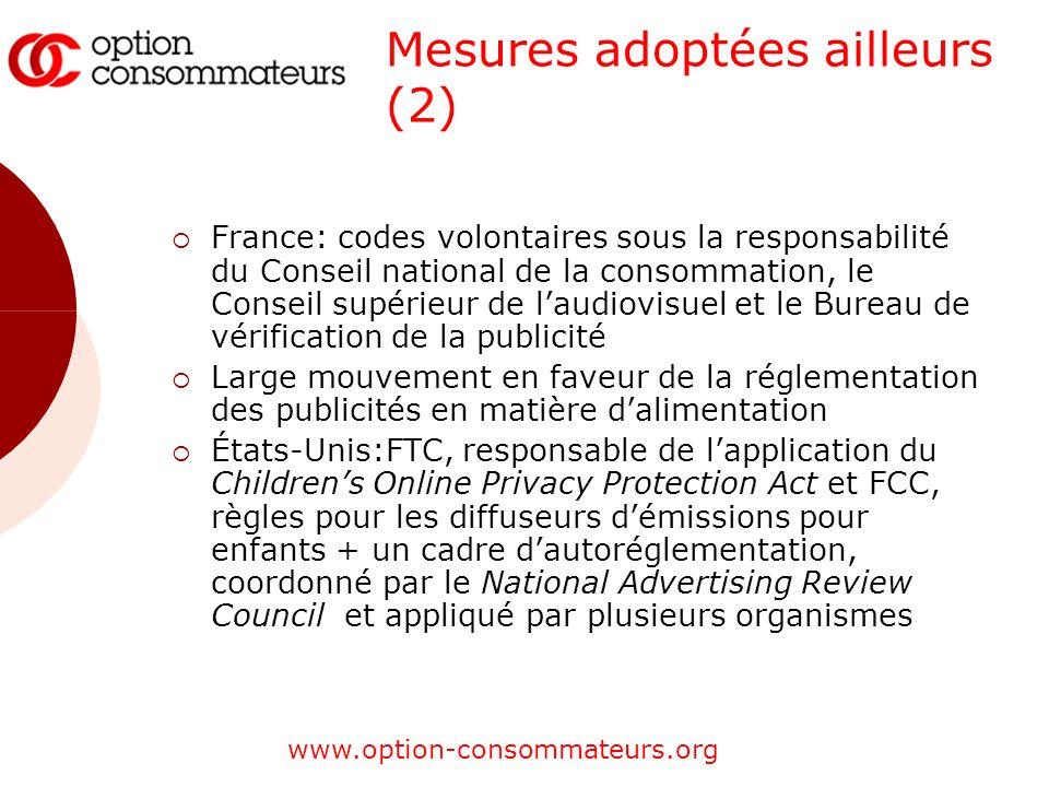www.option-consommateurs.org Mesures adoptées ailleurs (2) France: codes volontaires sous la responsabilité du Conseil national de la consommation, le