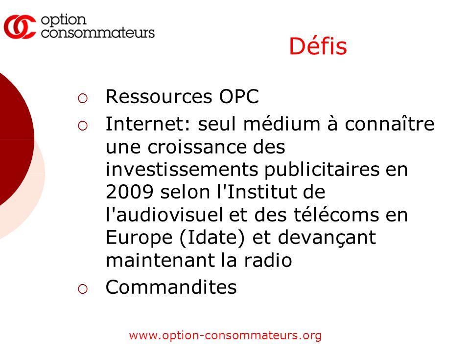 www.option-consommateurs.org Défis Ressources OPC Internet: seul médium à connaître une croissance des investissements publicitaires en 2009 selon l Institut de l audiovisuel et des télécoms en Europe (Idate) et devançant maintenant la radio Commandites