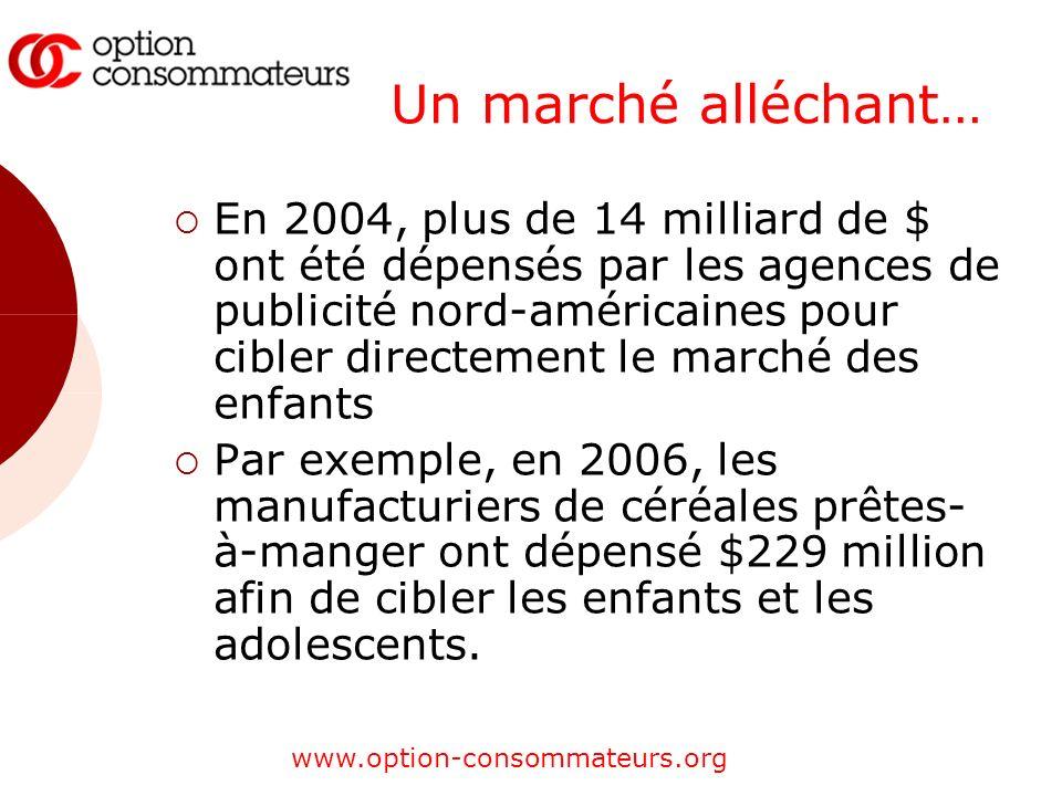 www.option-consommateurs.org Un marché alléchant… En 2004, plus de 14 milliard de $ ont été dépensés par les agences de publicité nord-américaines pou