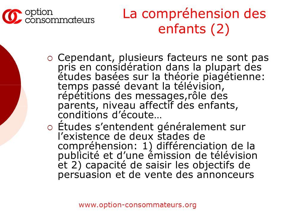 www.option-consommateurs.org La compréhension des enfants (2) Cependant, plusieurs facteurs ne sont pas pris en considération dans la plupart des étud