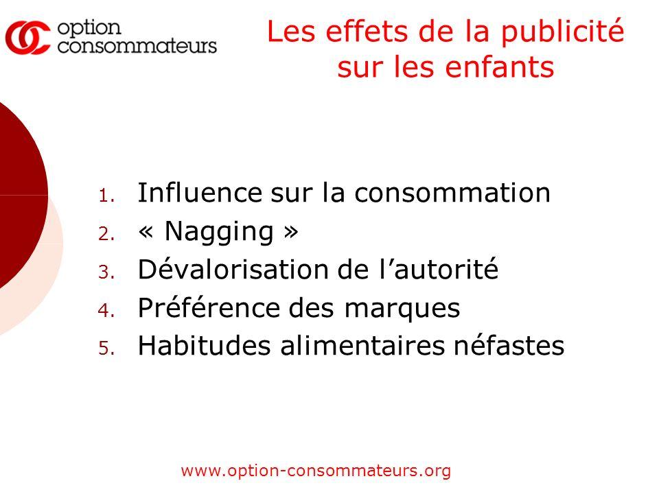 www.option-consommateurs.org Les effets de la publicité sur les enfants 1. Influence sur la consommation 2. « Nagging » 3. Dévalorisation de lautorité