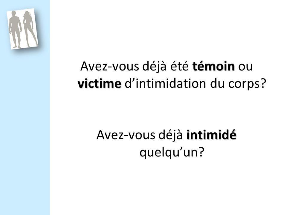 témoin victime Avez-vous déjà été témoin ou victime dintimidation du corps.