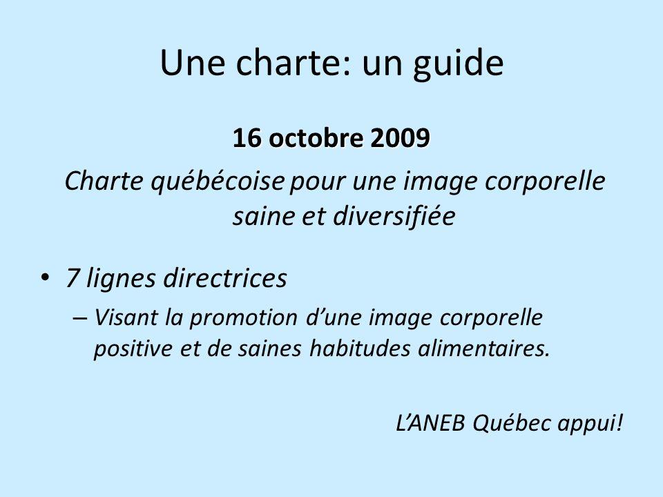 Une charte: un guide 16 octobre 2009 Charte québécoise pour une image corporelle saine et diversifiée 7 lignes directrices – Visant la promotion dune image corporelle positive et de saines habitudes alimentaires.