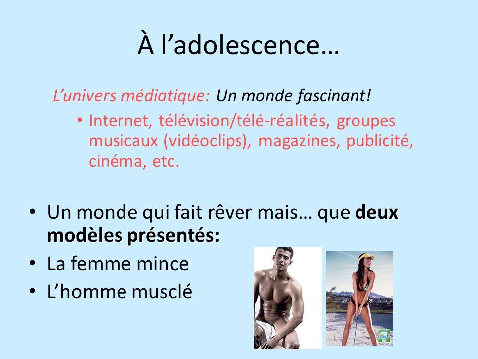 À ladolescence… Lunivers médiatique: Un monde fascinant! Internet, télévision/télé-réalités, groupes musicaux (vidéoclips), magazines, publicité, ciné