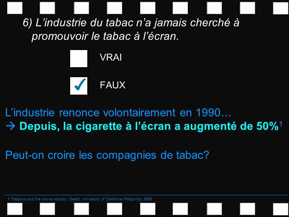 6) Lindustrie du tabac na jamais cherché à promouvoir le tabac à lécran. VRAI FAUX Lindustrie renonce volontairement en 1990… Depuis, la cigarette à l