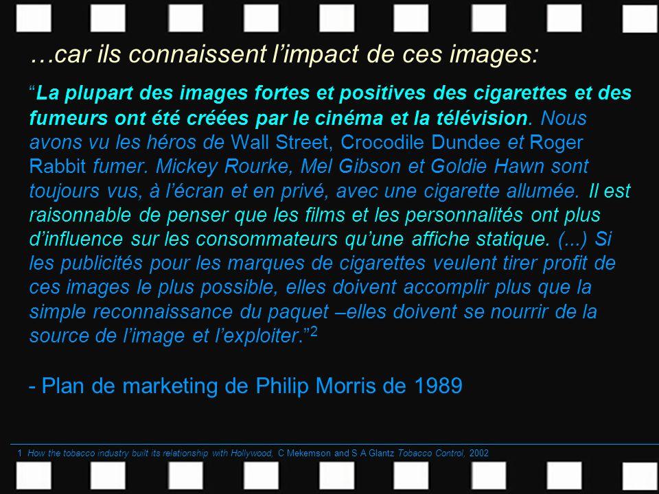 …car ils connaissent limpact de ces images: La plupart des images fortes et positives des cigarettes et des fumeurs ont été créées par le cinéma et la