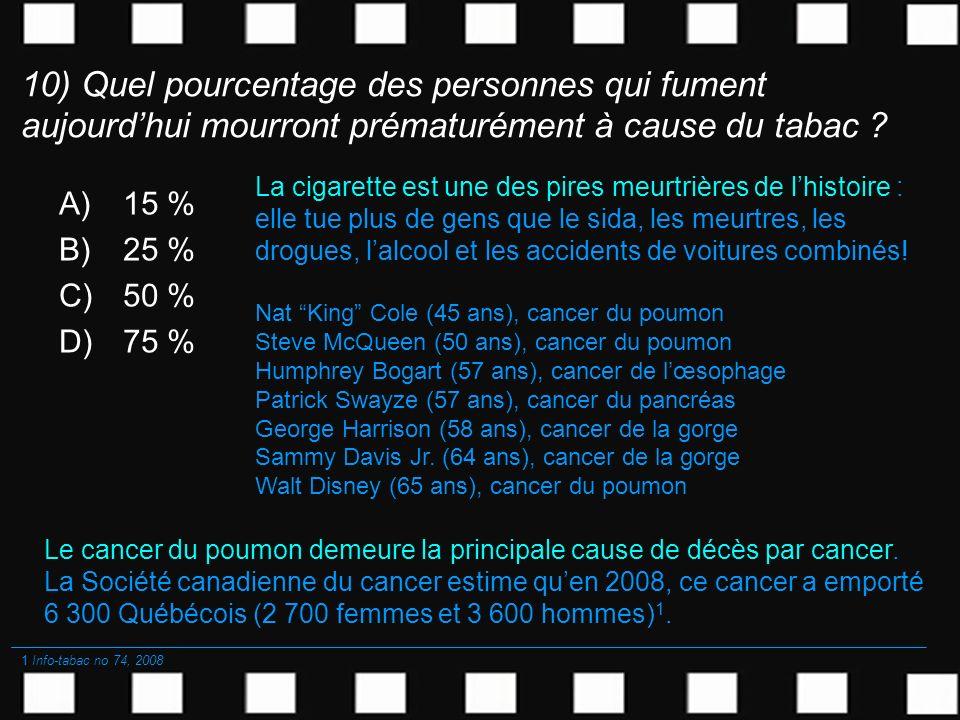 10) Quel pourcentage des personnes qui fument aujourdhui mourront prématurément à cause du tabac ? A)15 % B)25 % C)50 % D)75 % Le cancer du poumon dem