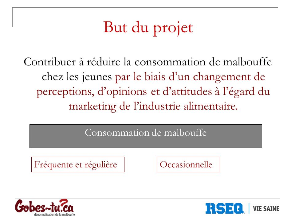 But du projet Contribuer à réduire la consommation de malbouffe chez les jeunes par le biais dun changement de perceptions, dopinions et dattitudes à légard du marketing de lindustrie alimentaire.