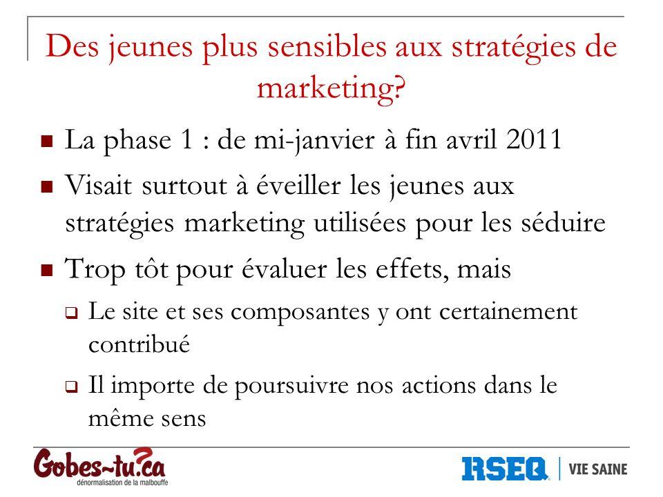 Des jeunes plus sensibles aux stratégies de marketing? La phase 1 : de mi-janvier à fin avril 2011 Visait surtout à éveiller les jeunes aux stratégies