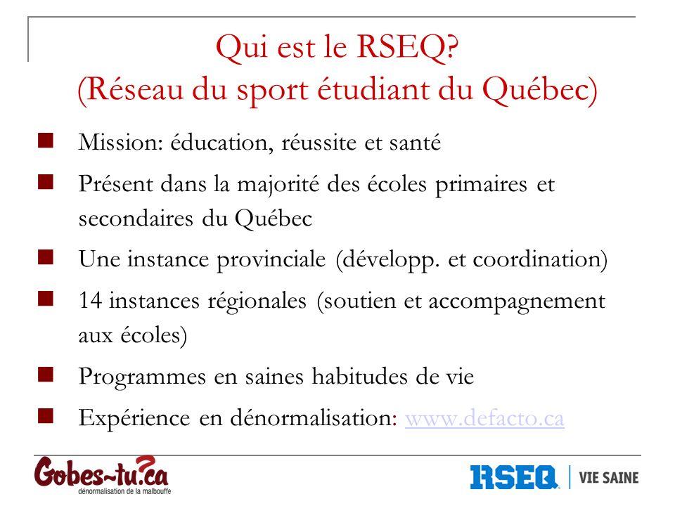 Qui est le RSEQ? (Réseau du sport étudiant du Québec) Mission: éducation, réussite et santé Présent dans la majorité des écoles primaires et secondair