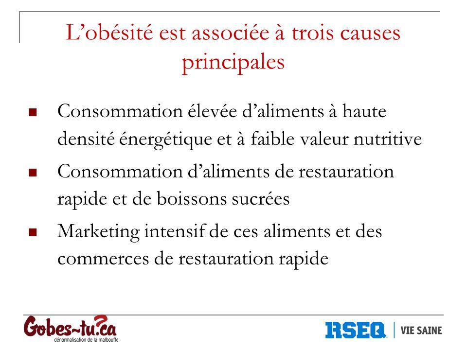 Lobésité est associée à trois causes principales Consommation élevée daliments à haute densité énergétique et à faible valeur nutritive Consommation d