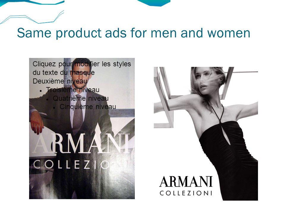 Same product ads for men and women Cliquez pour modifier les styles du texte du masque Deuxième niveau Troisième niveau Quatrième niveau Cinquième niveau