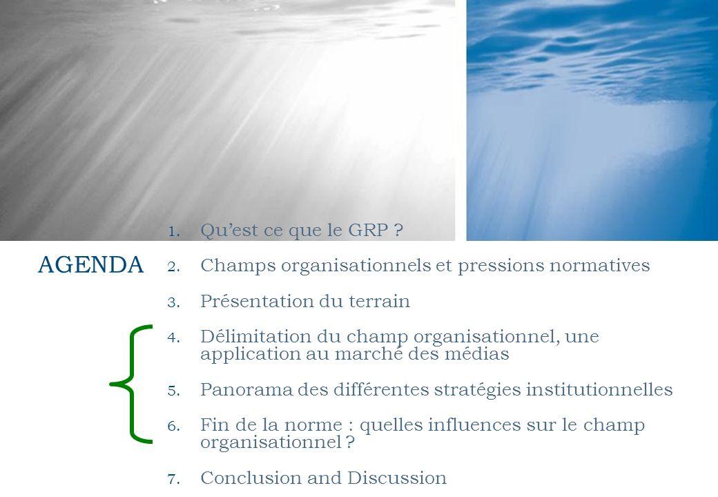 1. Quest ce que le GRP ? 2. Champs organisationnels et pressions normatives 3. Présentation du terrain 4. Délimitation du champ organisationnel, une a