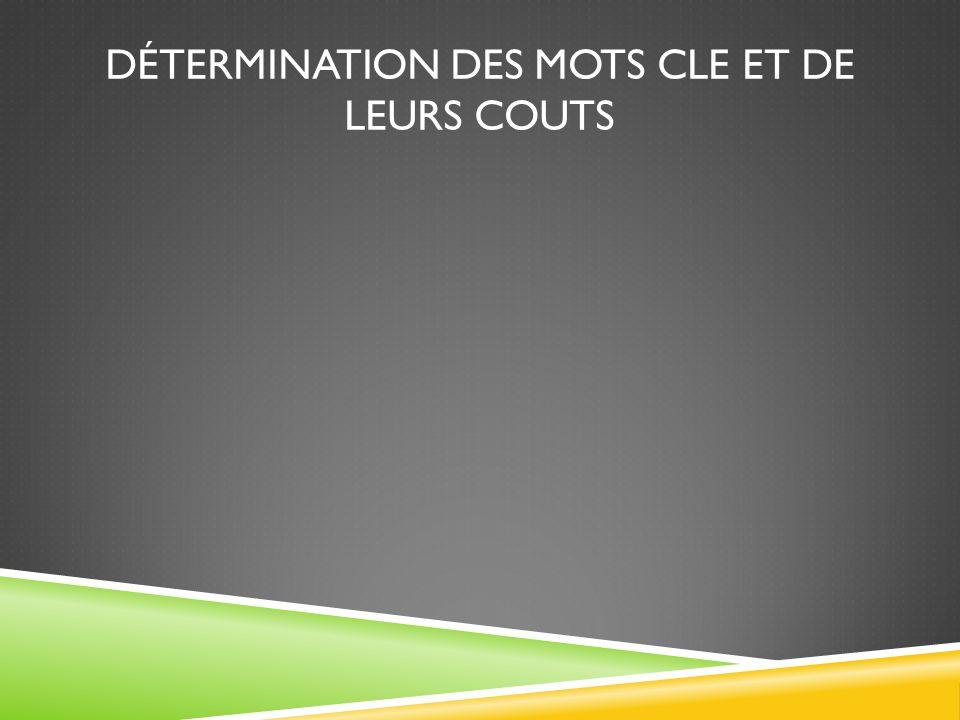 DÉTERMINATION DES MOTS CLE ET DE LEURS COUTS