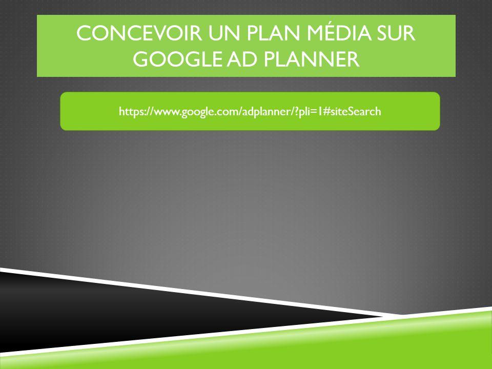 CONCEVOIR UN PLAN MÉDIA SUR GOOGLE AD PLANNER https://www.google.com/adplanner/?pli=1#siteSearch